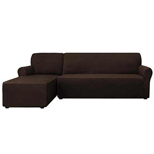 - CHUN YI 2 Pieces Rhombus Jacquard Polyester L Shape Sectional Sofa Cover Stretch Fabric L-Shaped Sectional Couch Covers Dust-Proof Sofa Slipcover Furniture Protector (Left Chaise, Chocolate)