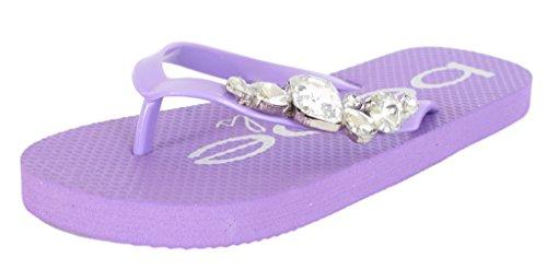 Price comparison product image 'Bebe Girls\' Large Rhinestone Purple Flip Flop Thong Sandals, Size 13-1'