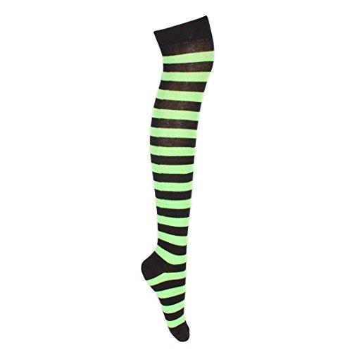 multicolori a verdi nero ragazze Calze 5 neon taglia UK per con al strisce 6 righe 4 adolescenti wEfpqCd