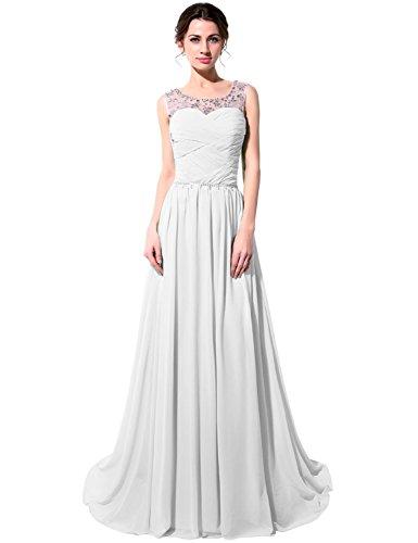 Chiffon mit Kristall Perspektiv Lange Damen Abendkleider Ballkleider Weiß Clearbridal Abschusskleider Herzausschnitt CSD184 15qTnz8x