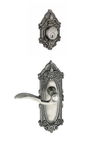 Grandeur Grande Victorian Plate with Bellagio Lever and Matching Deadbolt Complete Single Cylinder Combo Pack Set, Antique Pewter ()