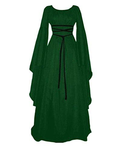 Vestido Vestido Mujer Renacimiento Largas De Maxi Señora Vestido Medieval Mangas Gótico Verde vvx8q0r