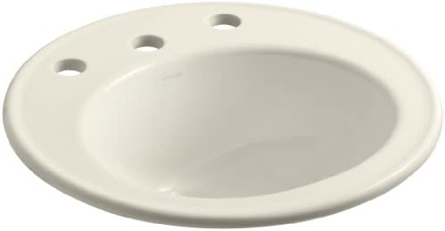 Kohler 2202-8-47 vitreous China Drop-In Round Bathroom Sink, 21 x 21 x 10 inches, Almond