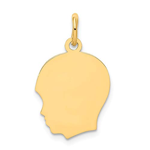 14k Yellow Gold Plain Medium .027 Gauge Facing Left Engravable Boy Head Charm 22 18x13mm 14k Boy Head Charm