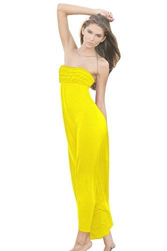 Ingear larga Ruffle Top vestido Amarillo
