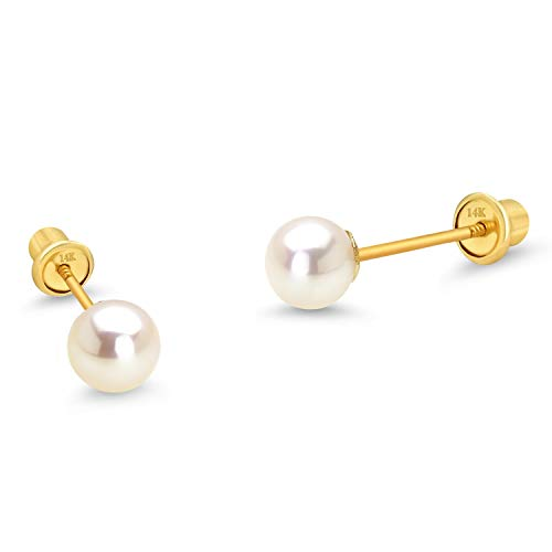 14k Yellow Gold Simulated Pearl Children Screw Back Baby Girls Earrings -