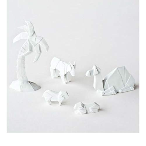 Porcelain Origami Nativity Additional Figures 5 pcs. Tree Camel Donkey 2 Sheep