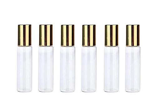 6PCS 10ml/0.34oz Clear Glass Empty Refillable Roller Bottles Portable Makeup Cosmetic Container Pot Jar Vial Holder For Aromatherapy Perfume Essential Oil Lip Balms Sample Golden Lid