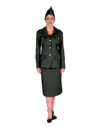 (Women's WWI Army Uniform Theater Costume Large Army Green)