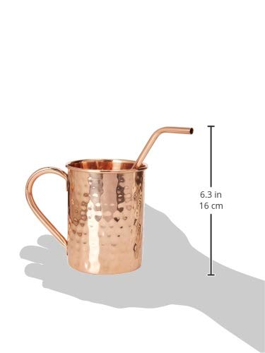 Copper Moscow Mule Mugs - Set of 4 - Highest Quality Gift Set – 100% HANDCRAFTED - Food Safe Pure Solid Copper Mugs 16 oz Hammered Moscow Mule Mug with BONUS:Copper Straws and Coasters by Copper Cure by Copper Cure (Image #7)
