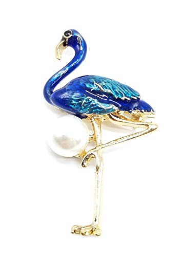 AZfasci Women Brooch Flamingo Hummingbird Eagle Peacock Chicken Pearl Rhinestone Feather Pin Gift (M Flamingo Brooch -