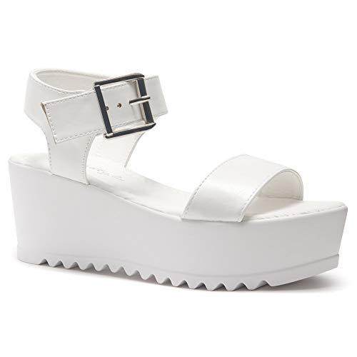 (Herstyle Carita Women's Open Toe Ankle Strap Platform Wedge Sandal White 9.0)