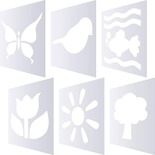 6 Pieces Chalk Stencil Set, Include Tree, Bird, Sun, Flower, Butterfly and Sea Shape Plastic Stencil Templates for Kids Painting Art Crafts (Style 1)