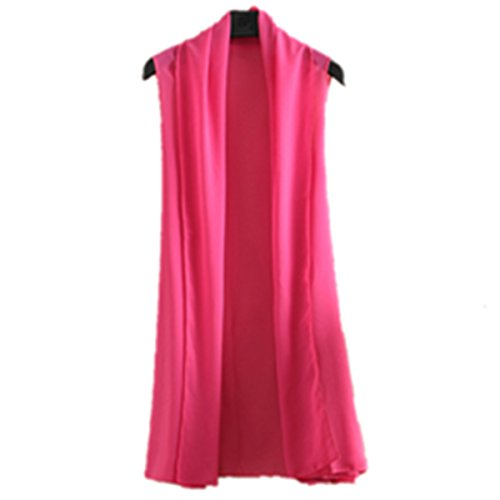 E-Papaya Women's Solid/Printed Sleeveless Chiffon Cardigan Cover-up Scarf wrap (Hot Pink)