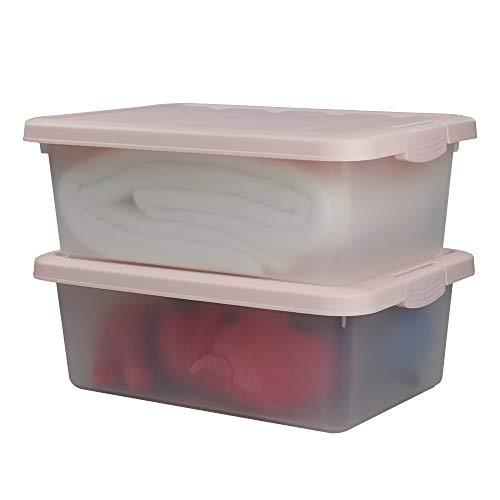 (Wekiog Versatile Storage Organizer Plastic Bins with Lids, Pink, 14 Quart, Set of 2)