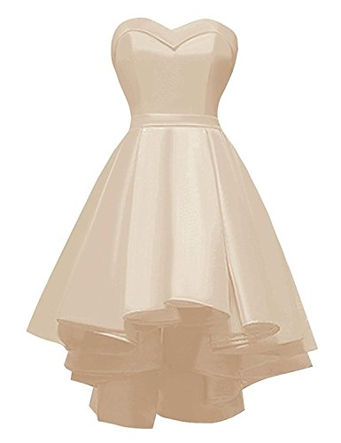 1feb7630298 Sweetheart Short Prom Homecoming Dress Strapless High-Low Satin Party Gown  Lace up