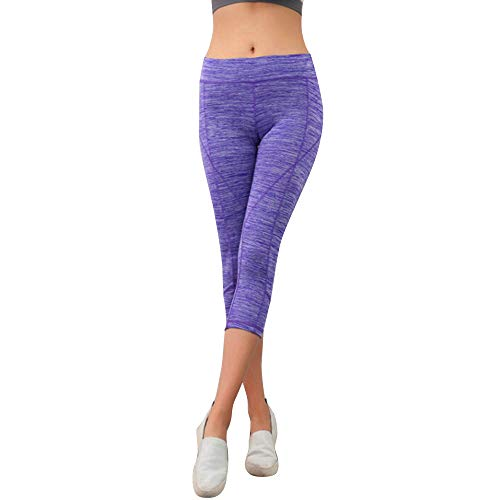 Womens Elasticity Exercise Running Yoga Sports Pants Vans Fitness Yoga Gym Trouser Work Out Purple ()