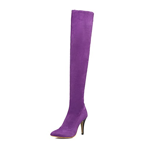 Shoe'N Tale Women Over The Knee High Stretchy Leather Thigh high Snow Boots (8.5 B(M) US, Purple)