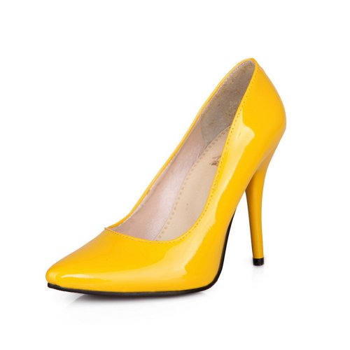 Pumps Patent Toes Ladies Stiletto Solid Leather VogueZone009 Yellow Pointed Closed w8qZHxwAv