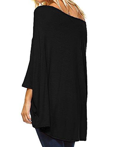 Confortable Kenoce Top Unie pour dnudes Couleur Chemise Longues Femmes paules Manches Noir gqwFva