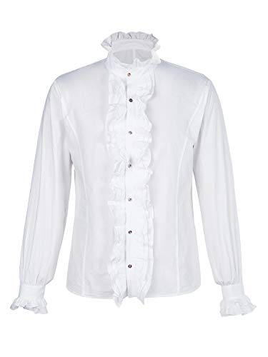 Bbalizko Mens Ruffled Gothic Shirts Steampunk Victorian Pirate Cosplay Costume Tops (Medium, z-White)