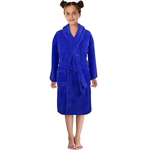 Transer- Plush Cashmere Robes Long Bathrobes Pajamas Night Gown for Baby Boys Girls Kids Age 3-12 ()