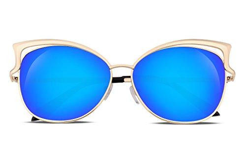 Blu Lens B1980 Da Flat Occhiali Frame Sexy Mirrored Sole Feisedy Women Cateye Metal dCxeBoWr