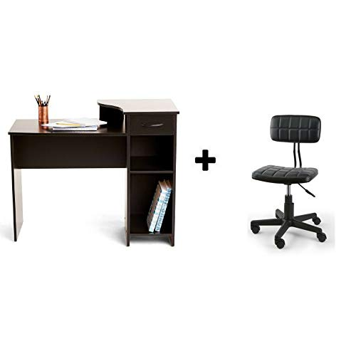 Mainstays Student Desk, Multiple Finishes (Cherry with Faux Leather Chair - Cherry Finish Faux Leather
