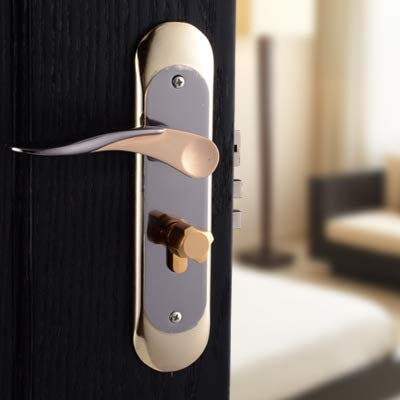 gold Interior Door Locks Double Security Entry Mortise House Door Lock Set Stainless Steel gate Locks Safe Handle keylock  (color  gold)