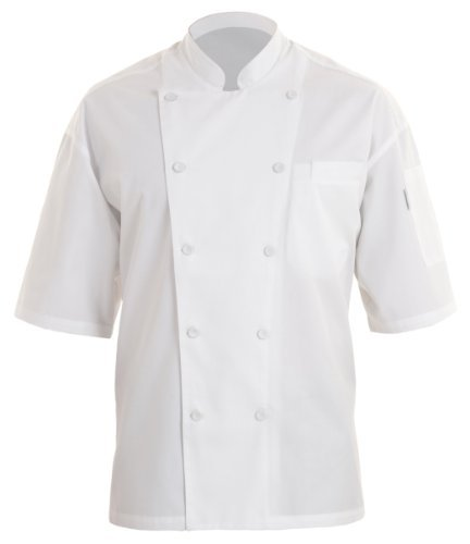 Chef Works EWCV-WHT Palermo Short-Sleeve Executive Chef Coat, Size L