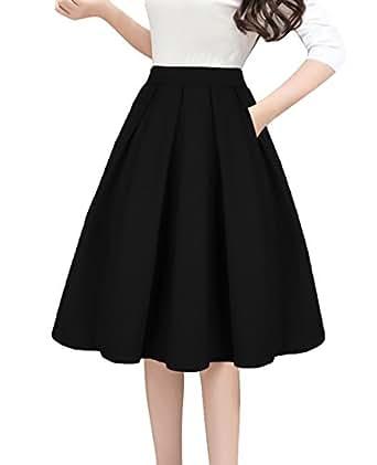 Tandisk Women's High Waist Flared Skirt Pleated Midi Skirt with Pocket Black S