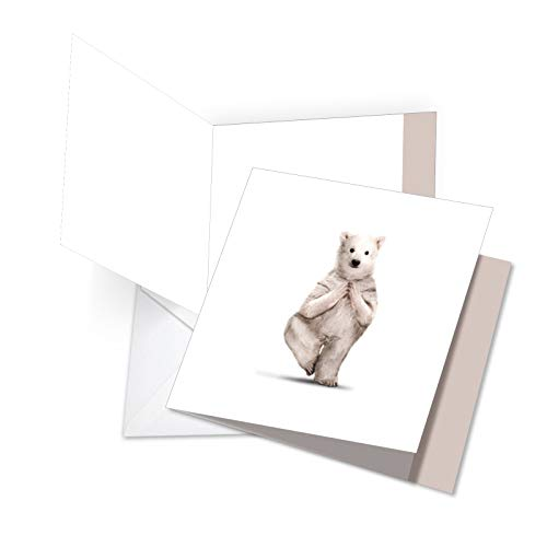 JQ6547JTYG New Jumbo Square-Top Thank You Greeting Card: Zoo Yoga Featuring a Fun and Flexible Polar Bear Practicing Yoga, with Envelope (Giant Size: 8.25