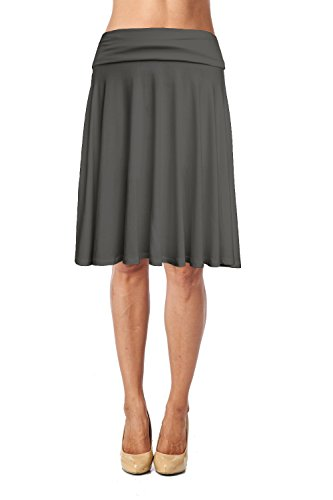 - Jubilee Couture Womens Fold Waist Soft Stretchy Mid Knee Length Flare Flowy Skirt Made in USA-Dark Grey,2X