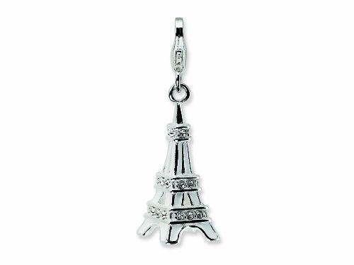 Amore LaVita Sterling Silver 3-D Enameled Swarovski Crystal Eiffel Tower Lobster Clasp for Charm Bracelet