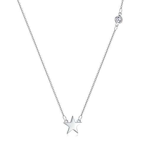 925 Sterling Silver Star Necklace with CZ