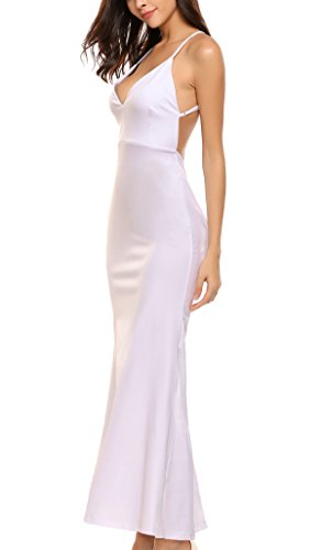 Finejo Women V-neck Backless Bandage Formal Evening Dresses Long