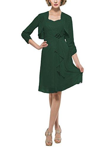 Dressyu Scuro Del Madre 4 Ginocchio Verde Del Con Vestito Rivestimento Chiffon 3 Lunghezza Manica Sposa Il rqRHCwrZ
