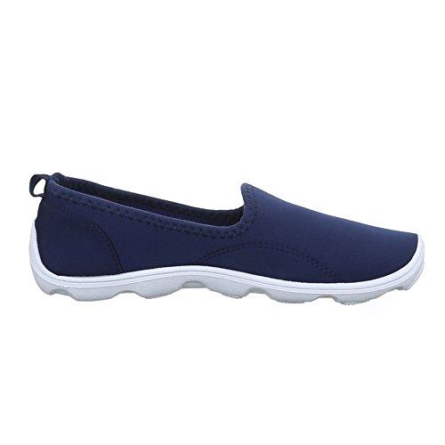 Schuhzoo - Damen Slipper Sneaker Freizeitschuhe Halbschuhe Schwarz Beige Weinrot Gelb Blau Grau Fuchsia Größe 36 37 38 39 40 41-Grau-41 fA3nc1