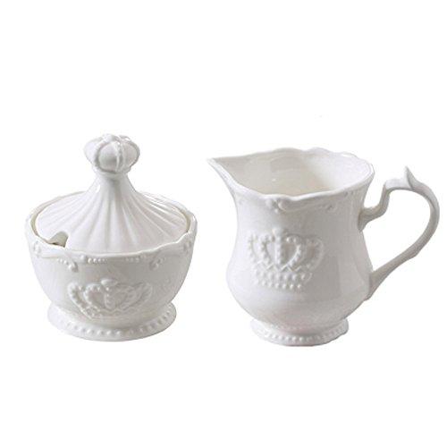 MASSJOY Ceramic Crown European Creative Embossed Milk Jug Sugar Bowl Set-2PCS