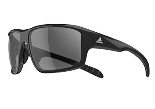 adidas Kumacross 2.0 A424 6050 Rectangular Sunglasses, Black Shiny & Black, 64 mm