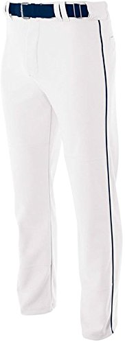 A4 Adult Pro Style Open Bottom Baggy Cut Baseball Pant White/Navy 3XL