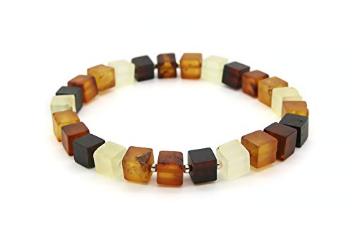 Genuine Natural Baltic Multicolored Stretch Amber Bracelet for - Bracelet Glass Amber
