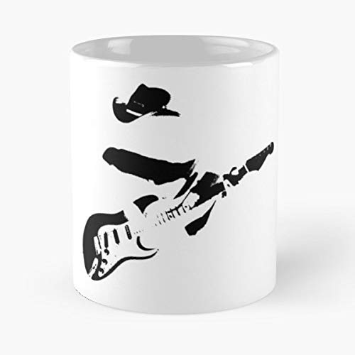 (Silhouette Stevie Ray Vaughan Srv Fender Strat -funny Gifts For Men And Women Gift Coffee Mug Tea Cup White-11 Oz.)