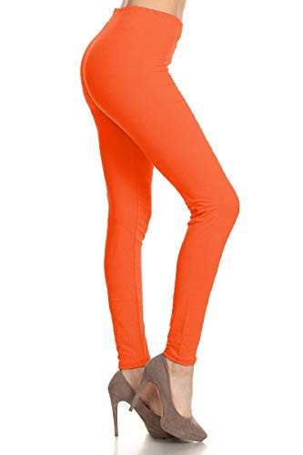 LDR128-Orange Basic Solid Leggings, One Size -