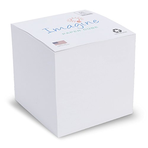 "Blank Note Cube - NOT STICKY 3.5"" - Made in USA (paper US or CAN) - 100% Recycled 24 lb. bond/700 white tear-off pages NOT LOOSE - ""Imagine"" design (Cube Sticky Note)"