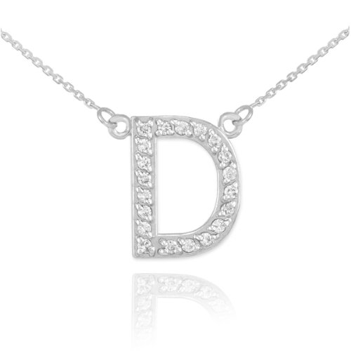 Diamond Initial Pendant Necklace (Dainty 14k White Gold Diamond Letter D Initial Pendant Necklace, 16)