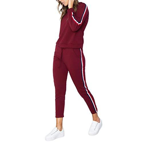 Tuta Top Donna Set Suit Da donna Casuale Lqqstore Indossare Pantaloni felpa Felpe Sport Rosso Sottile EWq1g8ZYxw