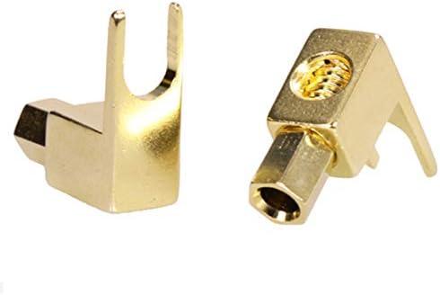 100Pcs//lot 4mm Banana Plug 24K Gold Plated Right Angle Screw Banana Male Connector Speaker Plug Adapter