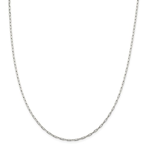 Open Link Chain Necklace (Solid 925 Sterling Silver 2mm Elongated Open Link Chain Necklace 18