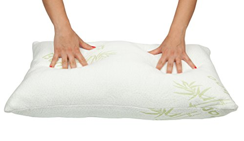 ComfiLife Premium Firm Bamboo Pillow with Shredded Memory Foam. Hotel Comfort with Stay Cool Technology, Hypoallergenic, Perfect Firmness for Side Sleeper and Back Sleeper - Queen